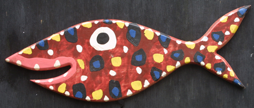 """Spotted Fish   dated '03  by Bebo  acrylic on wood cut out 18.5"""" x 6.25""""  $150  #11733"""