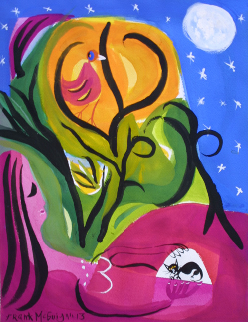 """The Moon Lighters"" d. 2013 by Frank McGuigan acrylic gouache on paper 15.75"" x 12.25"" $550 unframed #11853"