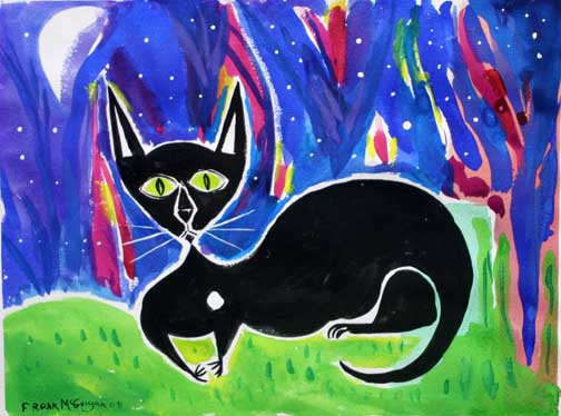 """Blackie at Midnight""  d. 2008""  by Frank McGuigan  acrylic gouache on paper 12"" x 16""  $550 unframed #11855"