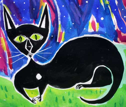 "detail ""Blackie at Midnight"" d. 2008""  by Frank McGuigan  acrylic gouache on paper 12"" x 16""  $550  #11855"