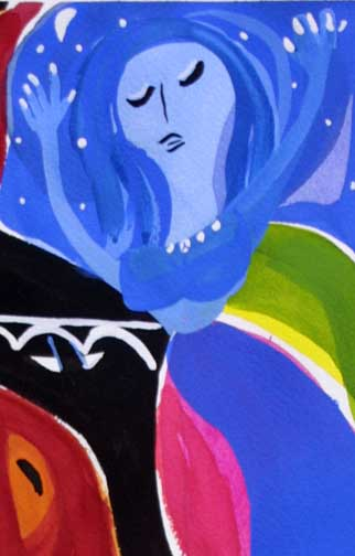 """Blue Moves"" c. 2013  by Frank McGuigan  acrylic gouache on paper 16.5"" x 7.75"" in 8 ply white mat with black frame  $575  #11856"