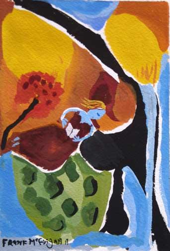 """The Reader"" d. 2011 detail ""Blue Dog Blues"" d. 2011 by Frank McGuigan acrylic gouache on paper 7.25"" x 5.25"" $230 unframed #11858"
