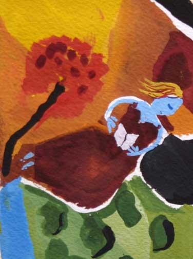 "detail ""The Reader"" d. 2011 detail ""Blue Dog Blues"" d. 2011 by Frank McGuigan acrylic gouache on paper 7.25"" x 5.25"" $230 unframed #11858"