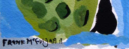 "detail ""The Reader"" d. 2011 by Frank McGuigan acrylic gouache on paper 7.25"" x 5.25"" $230 unframed #11858"