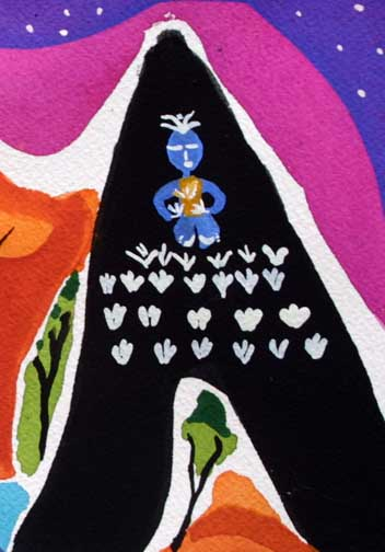 "detail ""Meditation""  d. 2014 by Frank McGuigan  acrylic gouache on paper  5.5"" x 8.5""  $240  unframed  #11859"