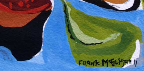 "detail ""Shine"" d. 2011  by Frank McGuigan 7 1/8"" x 5.25""  in 8 ply white mat in black frame  $280  #11860"