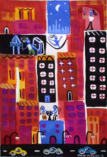"""""""Night Moves"""" d. 2013 by Frank McGuigan acrylic gouache on paper 13"""" x 9.5"""" $350 #11861"""