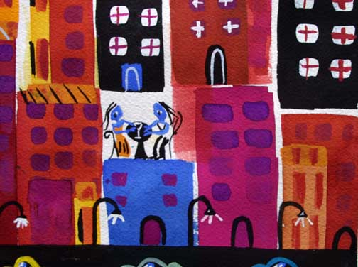 """detail """"Night Moves"""" d. 2013 by Frank McGuigan acrylic gouache on paper 13"""" x 9.5"""" $350 #11861"""