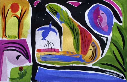 """The Dreamer"" d. 2014  by Frank McGuigan  acrylic gouache on paper 12"" x 8"" $280 unframed  #11862"