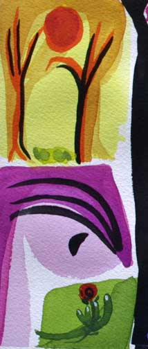 "detail ""The Dreamer"" d. 2014  by Frank McGuigan  acrylic gouache on paper 12"" x 8"" $280 unframed  #11862"