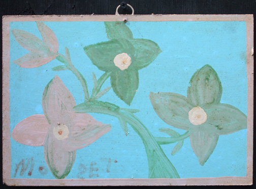 """""""Star Flowers""""  c. 1982  by Mose Tolliver  house paint on wood panel 8.25"""" x 12""""  $1600  #11868"""