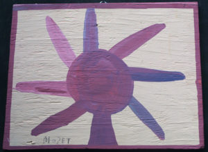"""Sun Flower""  c. 1982 by Mose Tolliver  house paint on wood 15.75"" x 21.75"" $1400  #11869"
