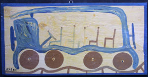 """Freedom Bus"" c. 1983  by Mose Tolliver house paint on wood  16"" x 32.25""  $2900  #11871"