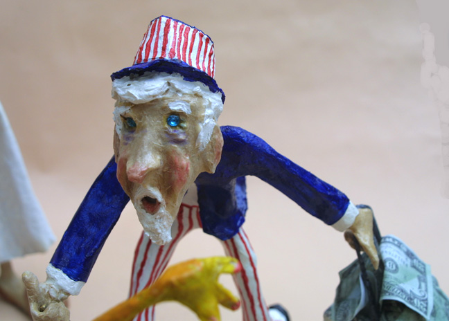 "detail Uncle Sam figure ""A Toyful Story of Our Times"" 2011 by Hope Atkinson (3 figures and 3 piggy banks ridden by demons) tallest figure 12"" mixed media, acrylic on papier mache $5000 #10424"