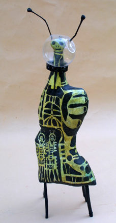 """""""Mother Ship"""" by Renee E. Whitaker paper mache, twigs, acrylic paint and molded plastic 22"""" X 7"""" X 4"""" $600 #11088"""