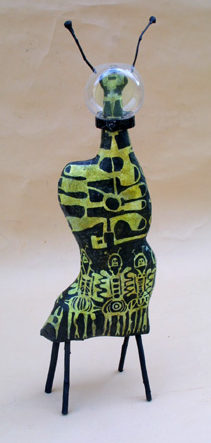 """back """"Mother Ship"""" by Renee E. Whitaker paper mache, twigs, acrylic paint and molded plastic 22"""" X 7"""" X 4"""" $600 #11088"""