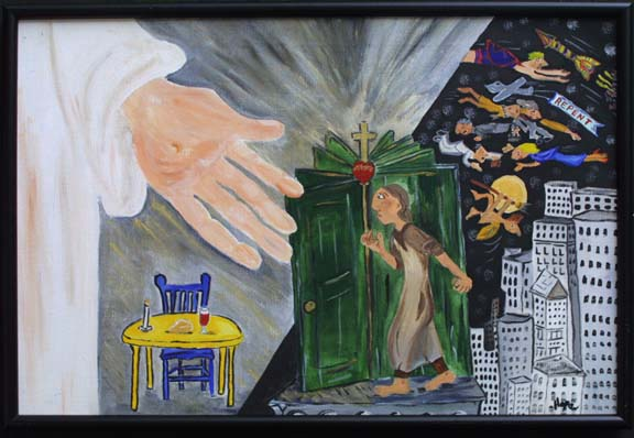 """Knocking at the Revolving door"" by Hope Atkinson acrylic on canvas 20"" x 30"" in black frame $1600 #2934"