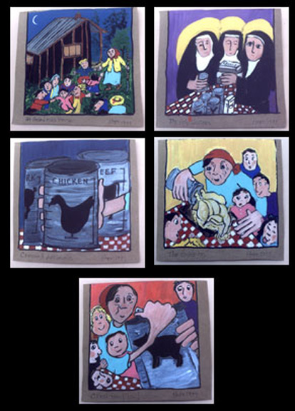 """Original paintings for book-How Did They Get It In the Can?"" by Hope Atkinson acrylic on paper each 8"" x 7"" Each framed with archival white mat in black frame set of 5 $900 #4891"