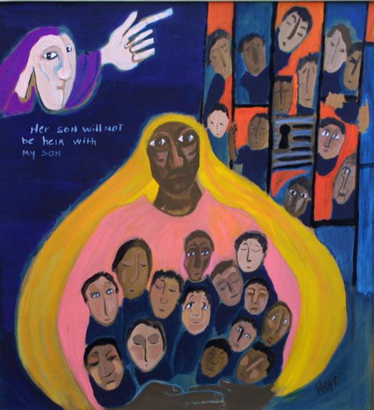 """The Children of Hagar"" by Hope Atkinson acrylic gouache on cardboard 19.25"" x 17"" $600 unframed #4895"
