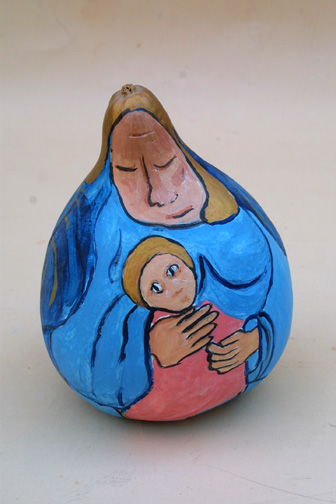 "side 2 side b ""Mother and Child"" (gourd) by Hope Atkinson    acrylic paint on found object gourd  8"" x 7"" x 7""  $300  #5784"