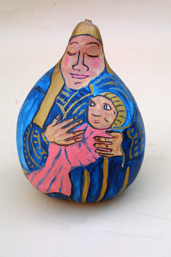 """Mother and Child"" (gourd) by Hope Atkinson    acrylic paint on found object gourd  8"" x 7"" x 7""  $300  #5784"