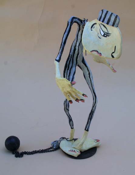 """Victim"" 2008 by Hope Atkinson (from Archetype series)  acrylic on papier mache with found objects  12.5"" x 7"" x 7""  $480  #9619"