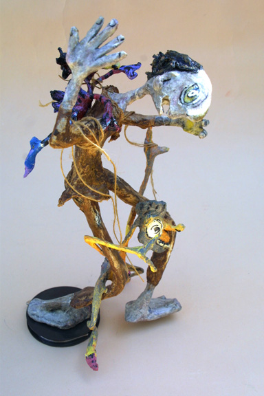 """Addict"" 2008 by Hope Atkinson (from Archetype series) 13.5"" x 8"" x 8"" acrylic on papier mache with found objects  $480  #9627"