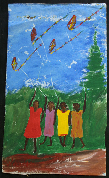 """Four Girls and Kites""  c. 1990  by Woodie Long  acrylic on unstretched canvas  irr 26"" x 15.75""  $600  #11224"