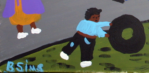 """Kids Playing""  by Bernice Sims  acrylic on canvas  18"" x 24"" in black frame  $1250  #11874"