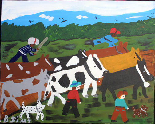 """Moving Cows""  c.  1997 by Bernice Sims  acrylic on canvas 16"" x 20""  in black frame  $850   #11875"