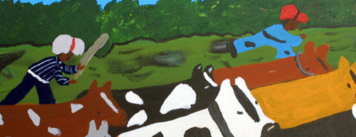 "detail ""Moving Cows""  c.  1997 by Bernice Sims  acrylic on canvas 16"" x 20""  in black frame  $850   #11875"
