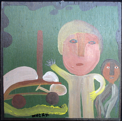 """People with Boat""   c. 1998  by Mose Tolliver  house paint on wood 18.5"" x 18.75""  $600  #11877"