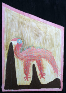 """Dinky Bird"" c.1976 -   faint signature LL  by Mose Tolliver  oil paint on plywood - floss hanger  18""(irr)x12.25""  $2000   #11886"