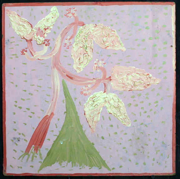 """""""Flower Tree"""" c. 1976 (heavy impasto-unsigned)   by Mose Tolliver  oil painton particle board - floss hanger  16.75"""" x16.75"""" $2000  #11887"""
