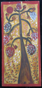"""Pico Bird / Tree of Life"" c. 1976  by Mose Tolliver     2- sided- plain wood bkg/signed lower left  oil paint on plywood   17"" x  8""  $2400   #11888"