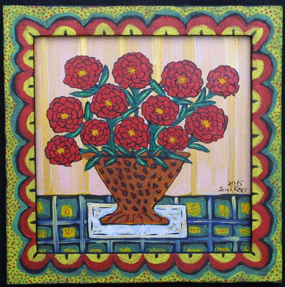 """Fresh Cut Zinnias"" by Sarah Rakes  acrylic on wood in artist's hand painted frame  9"" x 9""  $250  #11913"