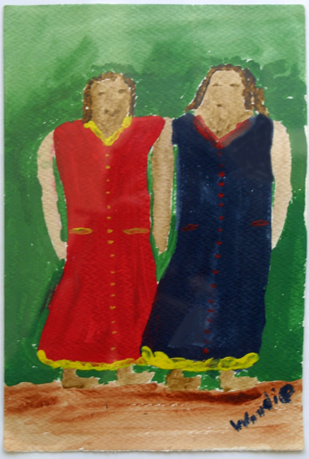 """Two Sisters""  c. 1990    by Woodie Long  acrylic on paper  11"" x 7.5""    matted, white frame $420  #11914"