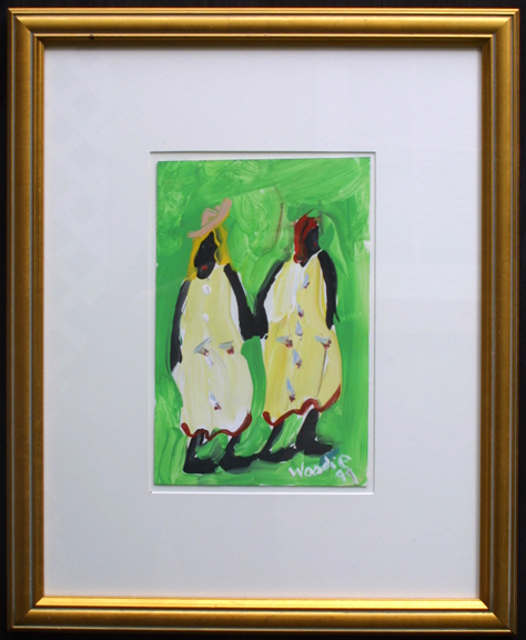 """Two Friends"" c. 1999 by Woodie Long  acrylic on paper  11"" x 7"" in white archival mat, gold leaf frame  $395  #11916"