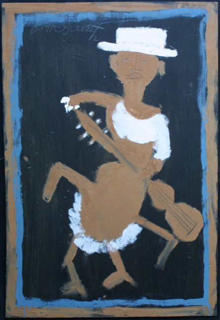 """Minnie Pearl"" c. 1995 by Jimmie Lee Sudduth  35.75"" x 24.25""  paint, mud on wood  in black shadowbox frame  $1750  #11920"