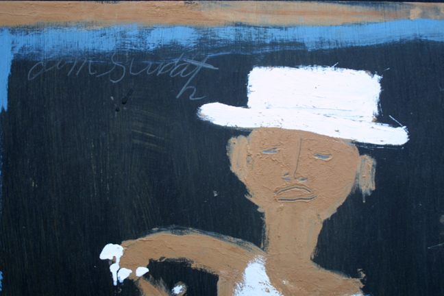 "detail  ""Minnie Pearl"" c. 1995 by Jimmie Lee Sudduth  35.75"" x 24.25""  paint, mud on wood  in black shadowbox frame  $1750  #11920"