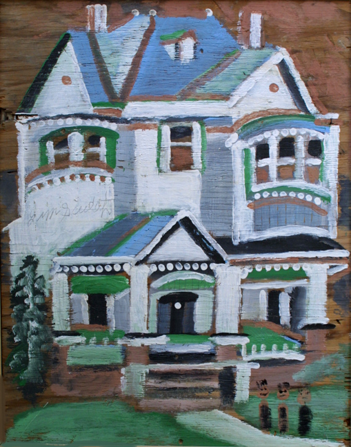 """""""Big House - Blue and White""""  c. 1988  by Jimmie Lee Sudduth  paint, mud on plywood  37"""" x 29"""" in natural wood frame  $3400  #11922"""
