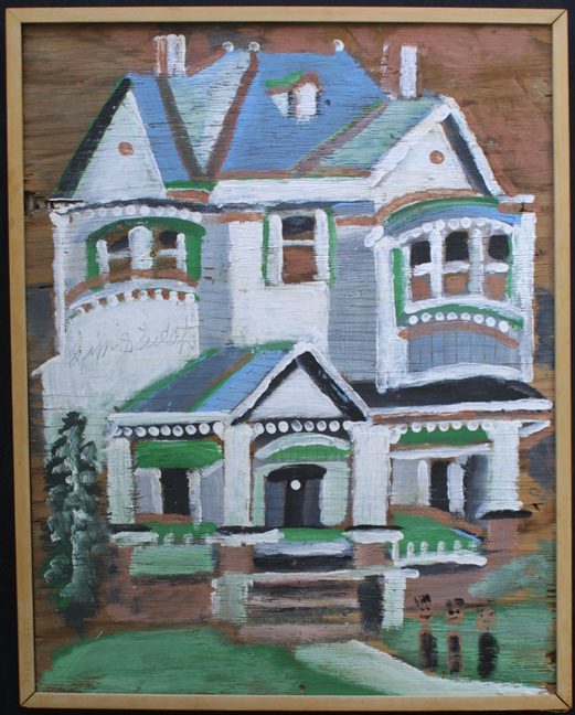 """with frame """"Big House - Blue and White""""  c. 1988  by Jimmie Lee Sudduth  paint, mud on plywood  37"""" x 29"""" in natural wood frame  $3400  #11922"""