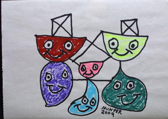"""""""Family"""" d. 2009 by Joe Minter  marker on paper 8 5/8"""" x 11.75""""   $300 unframed"""