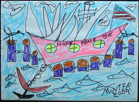"""Slave Ship with Hope, Peace & Joy"" d. 2009 by Joe Minter marker on paper 8 5/8"" x 11.75"" $400 #11937"