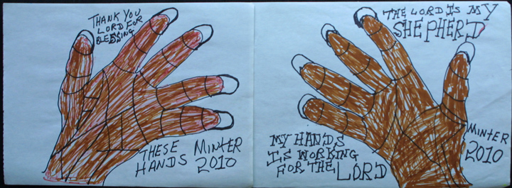 """Thank You for Blessing These Hands"" d. 2010  by Joe Minter  (2 works) 8 5/8"" x 24.25""  marker on paper  white mat, black frame  $875  #11939"