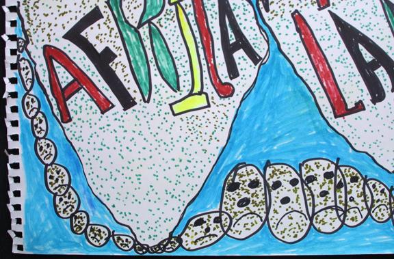 "detail ""Africa Mother Land"" d.2007 by Joe Minter  marker on paper  14.25"" x 16.5""  $800 unframed  #11941"