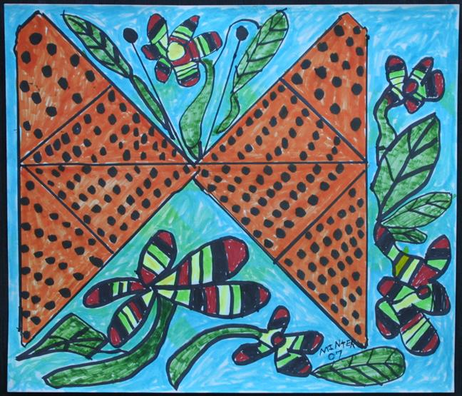 """African Design"" d. 2007 by Joe Minter  marker on paper  14"" x 16.25""  $500 unframed  #11943"