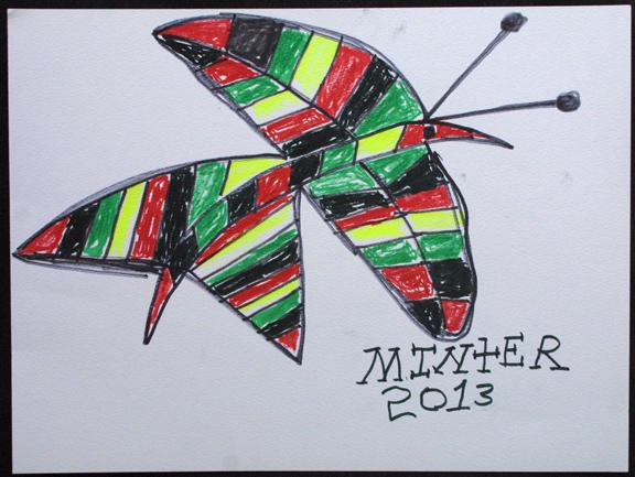 """""""Bird Butterfly"""" d. 2013 by Joe Minter  15"""" x 20 1/8""""    marker on paper  $400 unframed  #11944"""