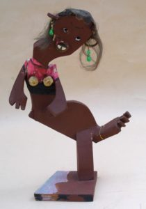 """""""Little Dancing Lady"""" 1992 by Derek Webster painted found wood apr 18"""" high $475 #0360"""