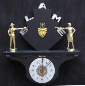 """""""Blame Game"""" Wall Clock by Jason Burnett wood, found objects: trophy parts, emblem parts, repurposed clock parts 14"""" x 13"""" x 3"""" $350 #12090"""